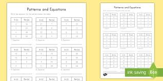 input and output tables patterns and equations input output tables worksheet activity