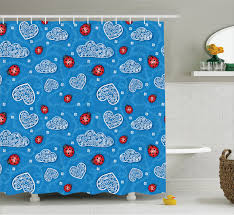Blue Home Decor Fabric About Kids Shower Curtain Ladybugs Hearts Clouds Bathroom Decor