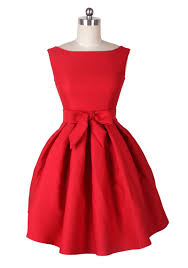 reoria modern day audrey hepburn red party wedding dress 1950s