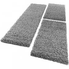 Soft White Bedroom Rugs Set 3 Bedside Runner Rugs Grey Shaggy Carpet Luxury Cosy Soft