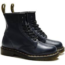 womens motorcycle shoes dr martens low rise black leather boots with yellow stiching 1460