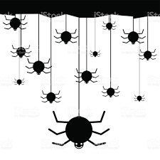 smiling spiders hanging from ceiling vector illustration stock