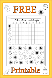 free printable fall themed color count and graph worksheet