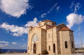 Church Flags Greek Christian Church Agios Georgios And Greek Flag Stock Photo