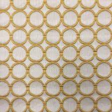 Sunshine Drapery Sunshine Yellow Circle Linen Fabric Upholstery Fabric