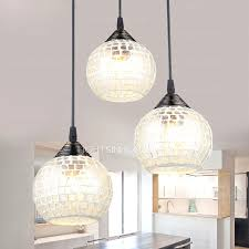 Glass Shade Chandelier Room Hanging Light With 3 Round Glass Shade Multi Pendant For