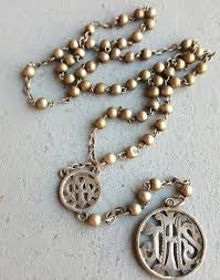 catholic gifts and more antique silver rosary nouveau jhs medal medallion