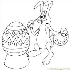 easter bunny painting eggs coloring page free painting coloring