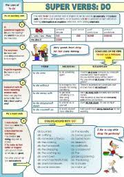 english worksheet super english verbs part 3 do page