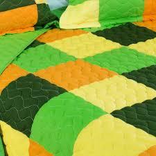Minecraft Bed Linen - yellow green orange geometric block bedding full queen quilt set