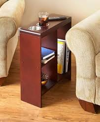 black and tan hamilton narrow wood top c table slim space saver end table wooden narrow drink holders shelving
