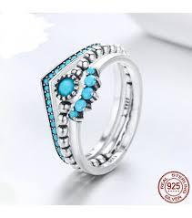 light blue rings images 925 sterling silver geometric rings for women light blue ring set jpg