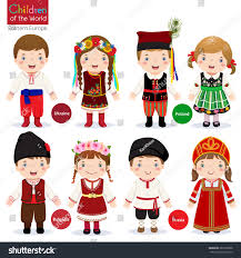 kids different traditional costumes ukraine poland stock vector