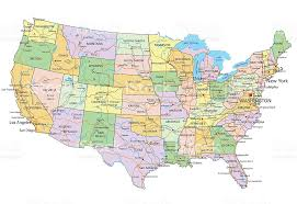 united states map vector united states of america highly detailed editable political map