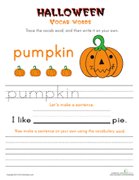 halloween vocab words pumpkin worksheet education com