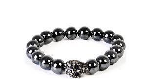 bead bracelet mens images Lyst eklexic men 39 s gunmetal skull hematite bead bracelet 8mm jpeg
