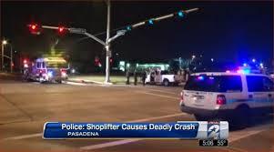 pasadena wal mart shoplifter runs red light killing mother and