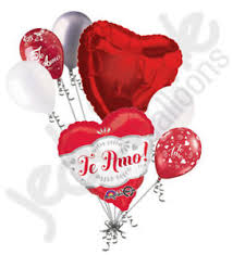 heart balloon bouquet 7 pc te amo fancy you heart valentines day balloon bouquet