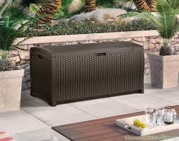 furniture alluring 73 gallon plastic suncast deck box design