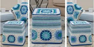 Crochet Ottoman Pattern Hexagon Blues Crocheted Ottoman Free Crochet Pattern