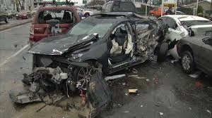lexus service farmingdale car spins through air crashes down on other cars stopped at