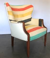 art deco wing back chair with pendleton style striped upholstery