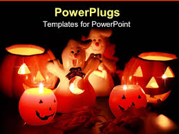powerpoint template halloween jack o lantern and ghost