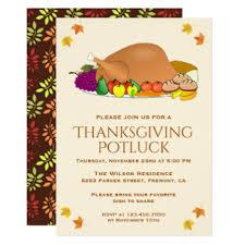 thanksgiving potluck invitations announcements zazzle au