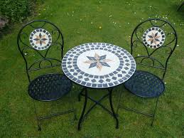 Mosaic Patio Furniture by Dining Room Mosaic Bistro Table In Black With Double Chairs For