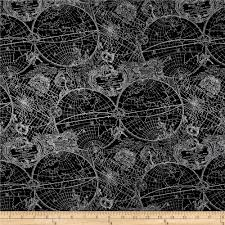 World Map Fabric by Simply Sterling Metallic New World Map Black Silver Discount