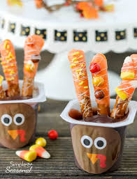 turkey pudding cups easy thanksgiving snack simple and seasonal