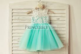 teal tulle ivory lace blush pink tulle flower girl dress