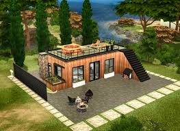 modern wooden cabin sims 4 houses