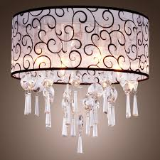 Chandelier With White Shade Drum Crystal Chandelier Amazing Good Looking White Shade