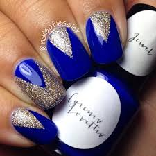 blue and gold acrylic nail designs and nails art