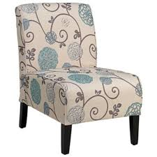 Olson Blue And Taupe Floral Armless Accent Chair Everything - Floral accent chairs living room