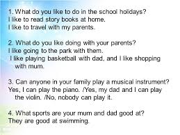 what do you like to do in the school holidays ppt