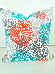 24x24 Decorative Pillows Orange Pillows Orange Teal Throw Pillow Covers Turquoise