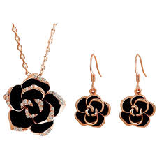 gold earrings necklace images Bn1200 18ct rose gold plated black crystal jewellery set billionia jpg