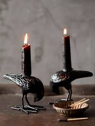 halloween candels midnight black raven taper candles add a dramatic note to your