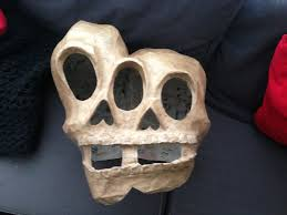 mardi gras skull mask paper maché conjoined skull mask manning makes stuff