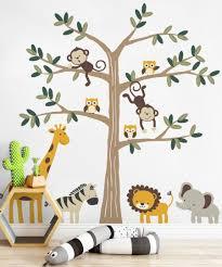 Animal Wall Decals For Nursery Safari Tree With Animals Safari Themed Nursery Wall Decal