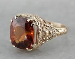 vintage hessonite ring etsy