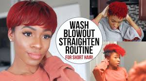 twa pixie on long hair wash blow dry and flat iron routine for short natural hair twa