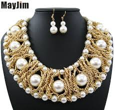 aliexpress pearl necklace images New women 2017 statement necklaces noble female short gold chains jpg