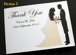 Personalised Wedding Invitation Cards Pack Of Handmade Personalised Wedding Thank You Cards 3 Designs
