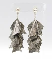 metal earings metal cascade leaves drop earrings silver