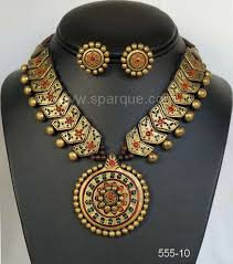 terracotta jewelry necklace sets with earrings handmade from clay