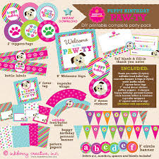 instant download puppy paw ty dog theme birthday party diy