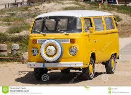 volkswagen yellow car vehicle retro yellow volkswagen vintage van summer beach editorial photo